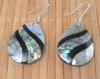 Big Black White Teardrop Dangle Earrings Shell Mosaic Statement Shimmery Rainbow Shell Long Dangle Drop Earring Shell Resort Earrings Gift
