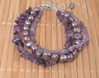 Amethyst Purple Pearl Multi Strand Bracelet Gemstone Bracelet Purple Amethyst 3 Strand Stone Bracelet Amethyst Gift Pearl Bracelet Rare Find