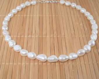 White Pearl Necklace Chunky Pearl Necklace Big Pearl Necklace Freshwater Pearl Natural Baroque Pearl Necklace Gift Rare Find Pearl Jewelry