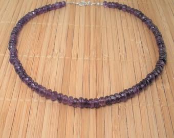 Amethyst Necklace Purple Gemstone Big Bead Purple Stone 17 inch Necklace Amethyst Faceted Round Purple Necklace Gift Birthstone Simple Gem