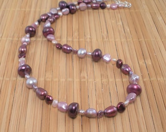Plum Pearl Necklace Long Pearl Necklace 20 inch Multi color Pearl Bridal Party Pomegranate Pink Rose Plum Freshwater Pearls Gift for Her