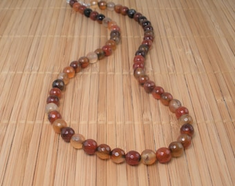 Carnelian Necklace Big Round Bead Gemstone 20 inch Necklace Orange Persimmon Rust Necklace Agate Chunky Necklace Carnelian Agate Statement