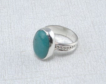 Turquoise Ring Silver Ring Large Stone Ring Artisan Ring Sterling Silver Art Band Ring Green Blue Ring Turquoise Stone Ring Green Turquoise