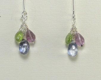 Amethyst Peridot Blue Quartz Brio Drop Earrings Multi Color Gemstone Dangle Blue Green Purple Brio Drop Earring Gift Birthstone Tiny Stone
