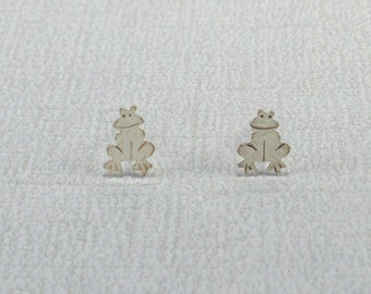 Little Frog Silver Post Earrings Tiny Stud Earrings Silver Frog Earrings Silver Studs Frog Posts Whimsical Hammered Sterling Silver Handmade