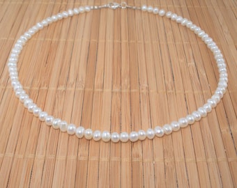 """White Pearl Necklace Tiny Pearl Necklace 16"""" Pearl Necklace Freshwater Pearl Natural Pearl Tiny Roundish Pearl Necklace Gift Short Strand"""