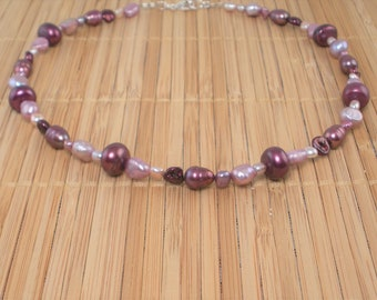 Plum Pearl Necklace Pearl Necklace 16 inch Multi color Pearl Bridal Party Pomegranate Pink Rose Plum Freshwater Pearl Gift for Her Rare Find