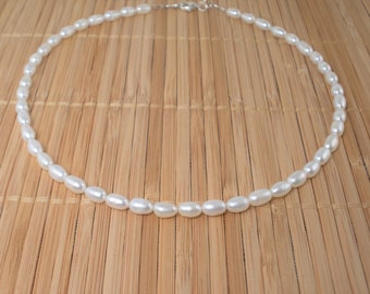 """White Pearl Necklace Small Pearl Necklace 16"""" Pearl Necklace Freshwater Pearls Natural Tiny Rice Pearl Necklace Gift Single Short Strand"""