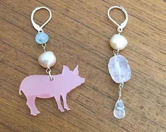 Asymmetrical Earrings / pig earrings, pink pig, handmade earrings, pearl and gemstone earrings, wabi sabi
