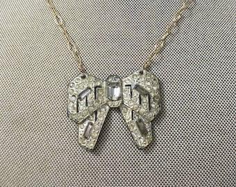 Upcycled Vintage Necklace / Rhinestone Bow Brooch, Vintage Jewelry, Upcycled Jewelry, Repurposed Jewelry,  Rhinestone Necklace, OOAK