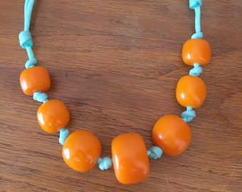 Trade Bead Necklace / copal, amber, faturan, bakelite, catalin, apricot, orange, aqua, blue