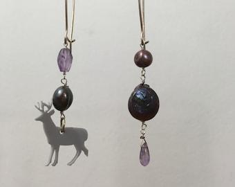 Asymmetrical Earrings / deer earrings, reindeer, handmade earrings, pearl and gemstone earrings, wabi sabi, amethyst earrings