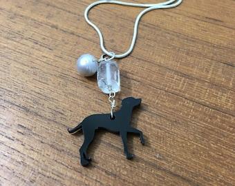 Dog Necklace / pointer necklace, labrador necklace, dog silhouette, handmade necklace, pearl and gem necklace, wabi sabi, quartz necklace