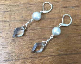 Pearl and Topaz Earrings / handmade earrings, pearl and gemstone earrings, sterling silver earrings, silver pearls, gift