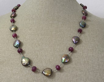 Ruby Necklace / pearl necklace, hand knotted necklace, gemstone necklace, freshwater pearl,  July birthstone