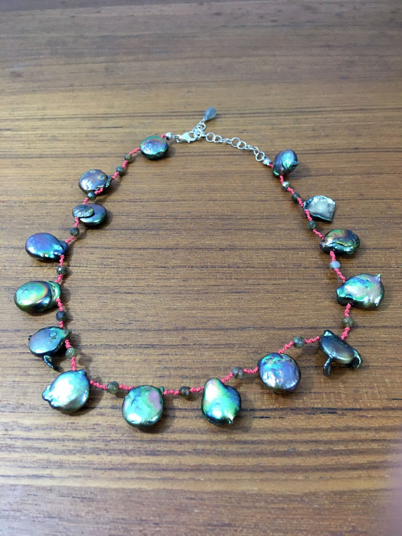 coin pearl Pearl and Labradorite Necklace  hand knotted necklace gemstone necklace freshwater pearl