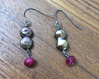 Freshwater Pearl and Ruby Earrings/ coin pearls, bronze pearls, heart chakra, handmade earrings, July birthstone, sterling earrings, gift