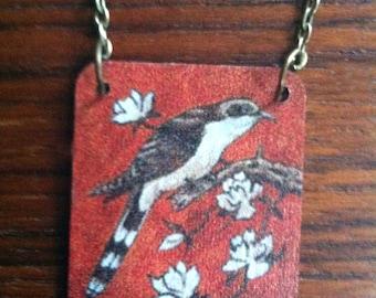 Cuckoo Bird Necklace / art pendant, Jon Langford art, handmade necklace, Put a Bird on It!