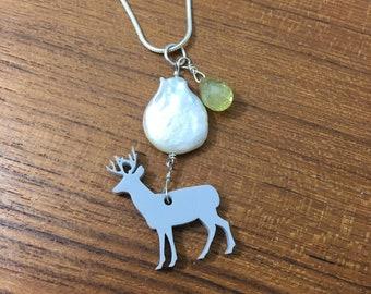 Deer Necklace / reindeer, handmade necklace, pearl and gemstone necklace, wabi sabi, amethyst earrings