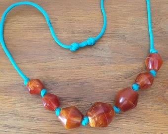 Trade Bead Necklace / copal, amber, faturan, bakelite, catalin, turquoise