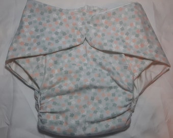 Adult Diaper - Pink and Gray Flowers - Size 2