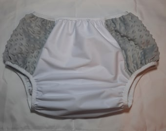 Adult Diaper Cover - Gray Minky Plush - Size 2
