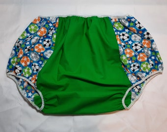 Adult Baby Bottoms - Soccer Balls and Green - Size 2