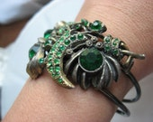 Art deco green and tniqued gold and silver green rhinestone vintage  brooch bracelet ooak