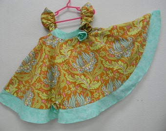 Size 5 Dress for Little Girl in Floral Print with Contrasting Trim