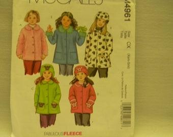 Uncut McCall's Pattern 4961 Little Girls Coats and Hats