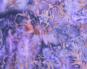 Lavender & Purple Batik with Rose Colored Floral Print Cotton Fabric
