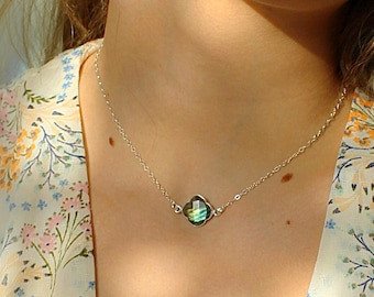 Labradorite necklace, dainty gemstone layering necklace, sterling silver, gold filled, jewelry gift for her, necklaces for women, Otis B