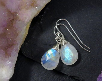 Rainbow Moonstone earrings, moonstone drop earrings, moonstone jewelry, june birthstone earrings, wire wrapped moonstone, sterling silver