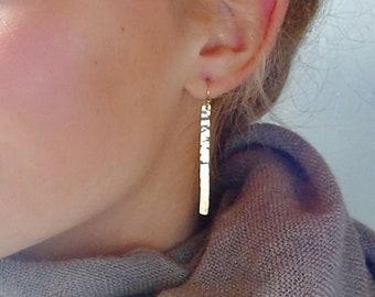 Gold bar earrings, minimal bar earrings, hammered bar earrings, everyday earrings, gold stick earrings, long gold earrings, vertical bar