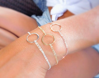Minimal circle bracelet, Karma bracelet, rose gold layering bracelet, stacking bracelet, dainty layered bracelet, open circle bracelet,