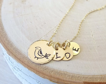 Personalized mothers necklace, mama bird necklace with initials, letter necklace, initial necklace for mom, grandmother gift, gift for mom