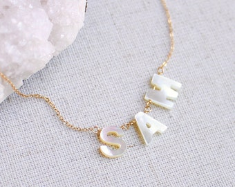 Custom name necklace, pearl name necklace, dangling initial necklace, word necklace, personalized necklace, layering necklace, gift for her