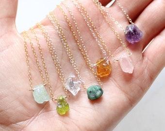 Rough gemstone necklace, minimal raw gem necklace, raw crystal necklace, natural raw birthstone necklace, dainty crystal layering necklace
