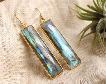 Flashy labradorite earrings, long labradorite earrings, labradorite jewelry, healing stones, gift for her, blue fire labradorite, Otis B