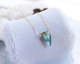 Dainty labradorite necklace, labradorite necklaces for women, labradorite spike, labradorite pendant, labradorite jewelry, healing crystals
