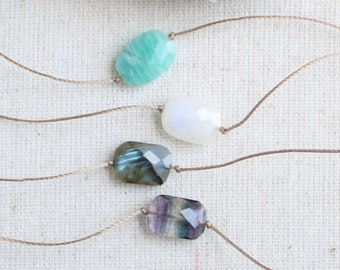 Corded necklace, Raw Crystal Choker, Natural Healing Stones Necklace, Unisex Cord Necklace, Gemstone Choker, rainbow fluorite, moonstone