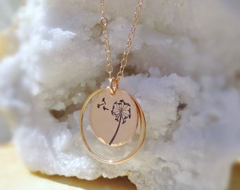Pink Gold Rose Gold Dandelion Seed Wish necklace, graduation gift for her,High school college graduate, wishes dreams dreamer journey