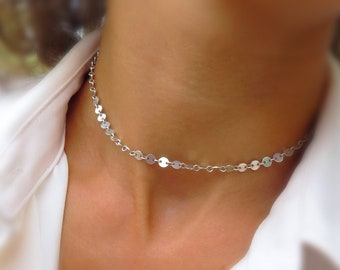 Dainty coin chain choker, layering necklace, shimmer choker, everyday necklace, small coin choker, gift for her, sterling silver gold fill