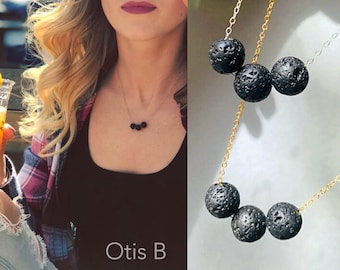 Lava rock aromatherapy essential oil diffuser necklace minimal lava stone jewelry sterling silver dainty layering necklace extracts oils