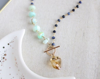 Beaded sapphire necklace, toggle necklace, raw citrine necklace, peruvian opal, sapphire bead necklace, september birthstone, virgo gift