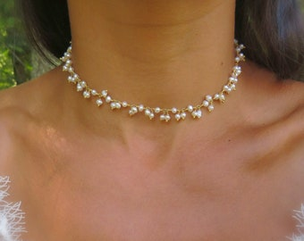 Pearl choker necklace, pearl bridal necklace, pearl choker, cultured pearl necklace, bridesmaid necklaces, bridesmaid jewelry,pearl necklace