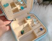 Travel jewelry case, vegan leather jewelry box, small jewelry organizer, small jewelry box, gift for her, ring box, jewelry storage case