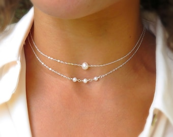 Pearl choker set, dainty silver choker, dainty pearl necklace, boho wedding, real pearl jewelry, layered necklace set, simple pearl choker