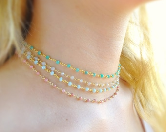 Beaded choker necklace, Gemstone bead necklace, gem bead necklace, delicate beaded necklace, rosary bead choker, boho jewelry, Gift for her