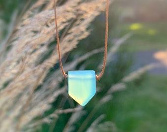 Minimal chalcedony necklace, aqua chalcedony necklace, crystal choker necklace, minimal necklace, dainty cord necklace, aqua stone necklace